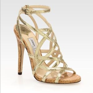 {Jimmy Choo} Dehlia Gold Metallic Cage Cork Heels